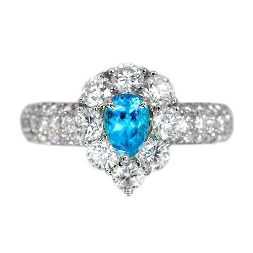 ブラジル産パライバトルマリン0.5ctダイヤモンド1.3ctプラチナリング(指輪)