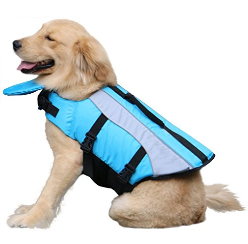 Jeerui ペット用 ライフジャケット フローティングベスト 救命胴衣 水遊びに 小型から大型犬まで (XL, ブルー)