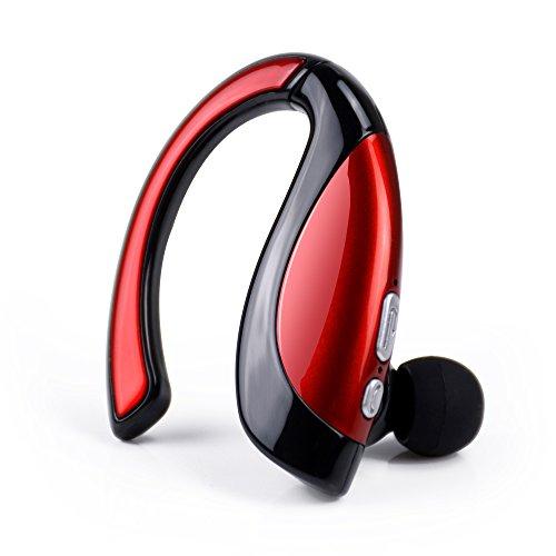 Bluetooth 4.1 ワイヤレスイヤホン ブルートゥーススポーツイヤフォン マイク内蔵 音楽通話 高音質 片耳 無線 耳防汗 超小型ボディ ブラック+レッド