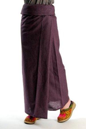 タイパンツ アジアン・エスニック ファッション の定番ストライプ織コットンユニセックスタイパンツは初心者さんもシルエットが綺麗に決まる M@T0505 [フリーサイズ ヨガパンツ]|レディース靴 サンダル その他|:パープル