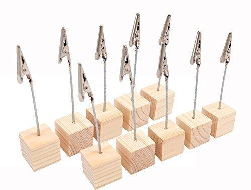 木製 スワイヤー メモクリップ メモホルダー メモスタンド  カードスタンド カード立て・写真立てに オフィス/机上用品/ 文房具用に 10個セット (木色2)