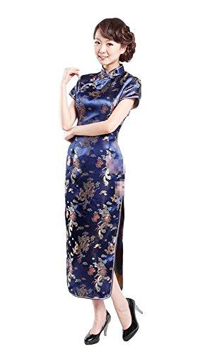 Black Omen (ブラックオーメン) 龍と鳳鳳柄 チャイナドレス (青色(ブルー)、L)op021bl/l
