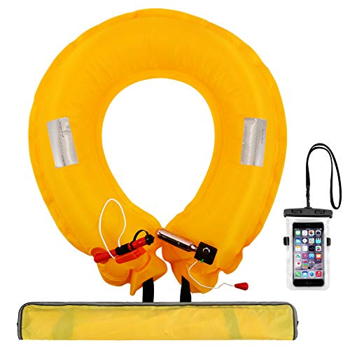 REEDARK ライフジャケット スマホ防水ケース付き 釣り救命胴衣 ウエストベルトタイプ 大人&子供用 CE認証取得済 手動膨張式 ベルトタイプ (9色) (黄色)