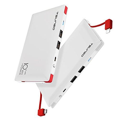 モバイルバッテリー 10000mAh ケーブル内蔵 大容量 MFi認証 ライトニング/microUSBコネクタ付 2USBポート ...
