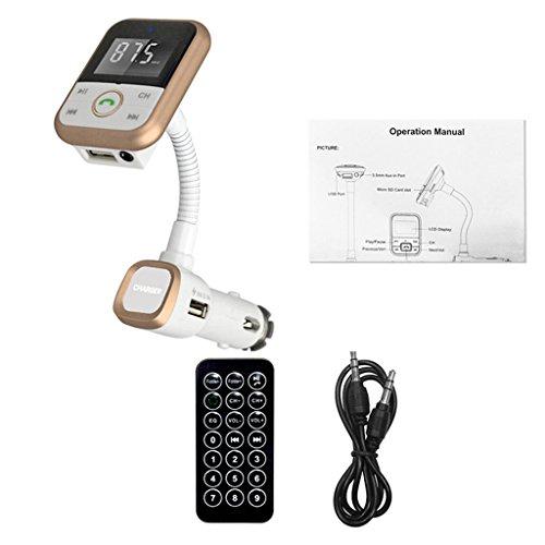【ノーブランド 品】車載用品 ゴールド USB充電器  MP3プレーヤー BluetoothFMトランスミッタ 赤外線リモコン付き