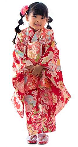 [キョウエツ] 着物セット 七五三用 3歳用 被布セット 16柄 9点セット(被布、着物、伊達衿、長襦袢、髪飾り、巾着、草履、腰紐、足袋) ガールズ (15-B1)