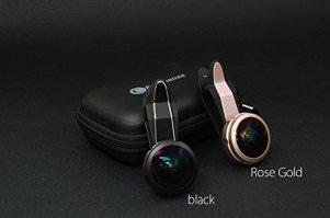 Neingrenze フルフレーム 魚眼レンズ ケラレなし フィッシュアイ セルカレンズ iPhone、Samsung、Sony、Androidスマートフォン、タプレットなどに対応 4000F (ブラック)