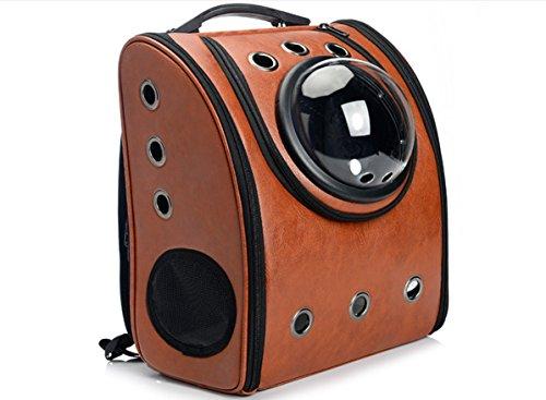 【pop】ペットバッグ 宇宙船カプセル型ペットバッグ リュック機能付き アメリカ人気モデル  ペットバッグ 犬猫兼用(ブラウン)