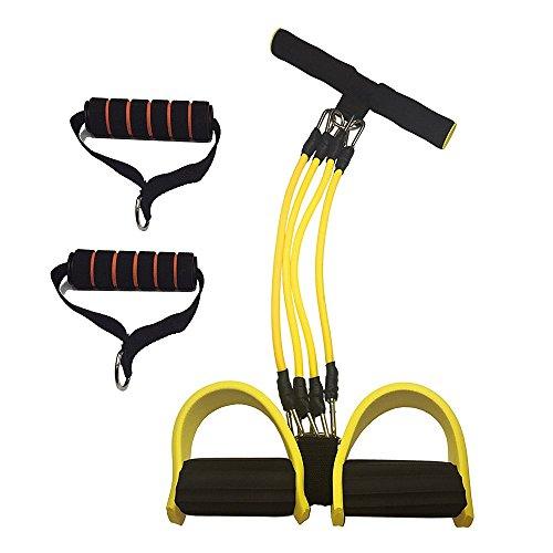 4管調節型 フィットネスチューブ トレーニングチューブ 腹筋 トレーニング 自分の筋力に合わせて調節できる Bajoy ダイエット器具 男女兼用 フィットネス (調節型-黄)