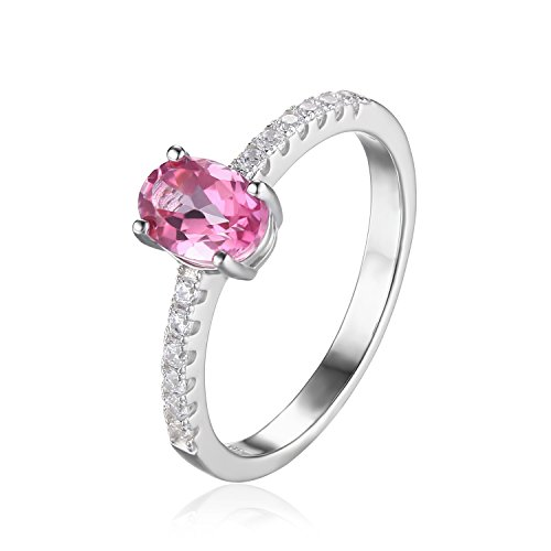 JewelryPalace 1.1ct オーバル 天然石 婚約 11月 誕生石 ピンク トパーズ 指輪 スターリング シルバー925 リング サイズ 11号