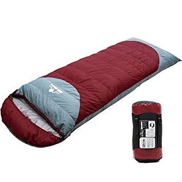 羽毛寝袋 ダウンシュラフ スリーピングバッグ ワインレッド 全2色 封筒型 Lサイド 連結可能 ダウン1.5kg 最低使用温度-25度 重量2.3kg 撥水加工 収納袋付き