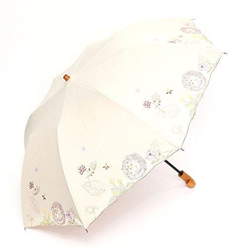 日傘 かわず張り 完全遮光 遮熱 特殊2重張り ボタニカル柄 ワイドショート (ベージュ)