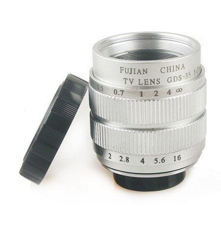 COCO Camera FUJIAN 35mm F/1.7 CCTV Cマウントレンズ ( 銀 シルバー ) + マクロ 撮影 用 アダプター レンズ キャップ マイクロフォーサーズ CCTV セット 今日からあなたも シネマレンズ の世界へ ( オリンパス パナソニック ソニー ニコン) 【13-8-636】