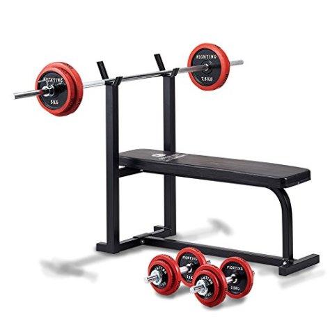 スターターセット (トレーニングベンチ+ダンベル、バーベルラバータイプ50kgセット)