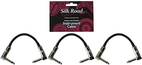 Silk Road LG104-0.15M-3P BK ギターパッチケーブル 15cm LLプラグ×3本パック 【122円~!】安いパッチケーブル特集!エフェクターボードに邪魔にならないコンパクトなパッチケーブルシールド&連結コネクター!