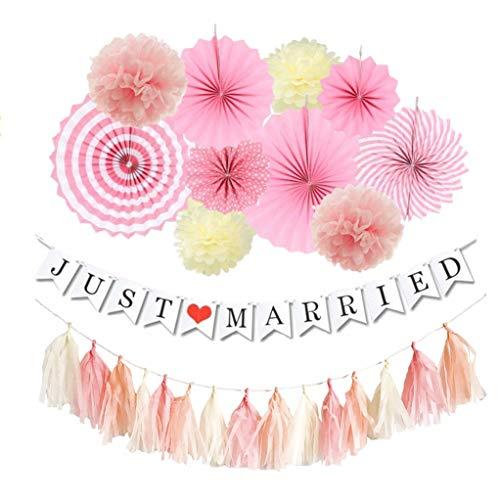 Hanamei 結婚式 飾り付け 装飾 ガーランド ウェディング デコレーションセット ペーパーファン タッセル pa...