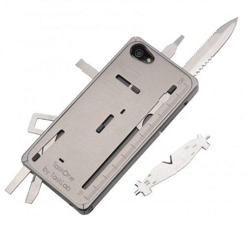 """iPhone5 iPhone5s用 TaskOne(タスクワン) 多機能 工具(2.5""""のナイフ 1.8""""の鋸切り歯 大小のスクリュードライバー フィリップススクリュードライバー レンチ付ペンチ ワイヤーカッター スパナ ワイヤーの被膜はがし 缶あけ ものさし サイドスタンド等の全22種類内蔵)マルチ工具 (グレー)"""