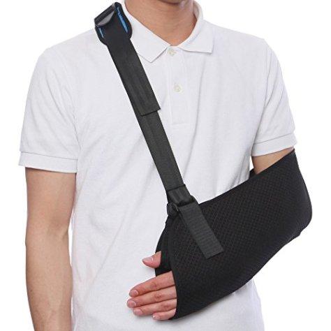 UY アームホルダー 首が痛くなりにくい 腕つり サポーター 腕 肩 骨折 固定 腕つり用 三角巾 (ブラック)