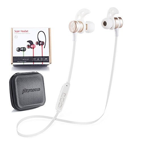 ワイヤレス イヤホン、 Parasom A1 【一年保証】 Bluetooth 4.1 bluetooth ヘッドセット IPX5 防汗 防滴 イヤホン ステレオ コントルール付き イヤホンマイク マグネット内装 iPhone&Android スマートフォンに対応 ゴールド・ホワイト