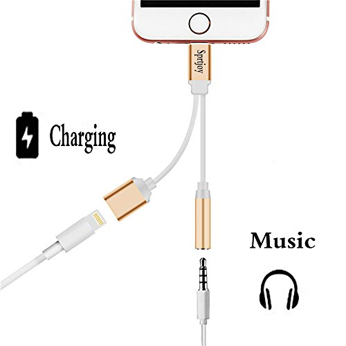 Sprtjoy iPhone7 7 Plus 対応 ライトニングポート ライトニングケーブル 3.5mm オーディオジャック イヤホン 変換アダプタ 充電可能イヤホン出力ケーブル ゴールデン