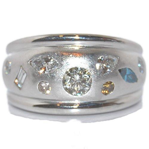 Pt ファンシーカラーダイヤモンド-1.08ct 広幅埋め込み デザインリング