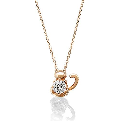 [ミワホウセキ] miwahouseki ご主人様の誕生石を大切に抱く子 猫 モチーフ 4月 誕生石 ダイヤモンド ピンクゴールド ニャン子 ネックレス