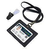 ネームホルダー 牛本革 IDカードホルダー 両面用 横型 社員証・名札・定期入れ・パスケース ネックストラップ 2ポケット (黒)