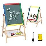 AZAKBL お絵かきボード 子供 高さ調節可能 黒板 ホワイトボード 両面木製イーゼル 数学、絵画、スケッチ、落書きをサポート 2歳~8歳へのプレゼント 入学祝い 知育学習玩具