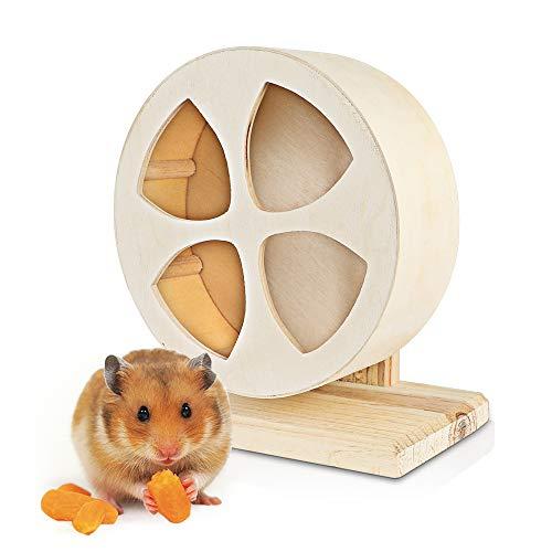 Berukon ハムスター回し車 木製 サイレントホイール 小動物用おもちゃ 運動不足解消 (S直径15cm)