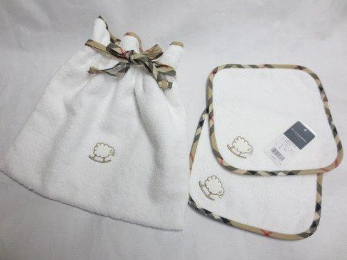 [バーバリー] BURBERRY タオル 巾着 & ミニテリー 2枚 3点セット ノバチェック 白 羊 刺繍 日本製
