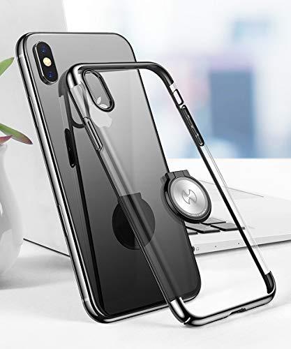 iPhone Xs Max ケース クリア リング付き OURJOY iphonexs max ケース 正面強化ガラスフィルム付き 耐衝撃 マグネット式 車載ホルダー対応 アイフォン Xs Max ケース 透明 軽量 薄型 携帯カバー (iPhone Xs Max ケース ブラック)