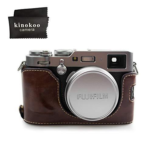 kinokoo 富士フイルム FUJIFILM X100F専用オープナブルタイプ ボディケース バッテリーの交換でき 三脚ネジ穴付き カメラケース 標識クロス付き (コーヒー)