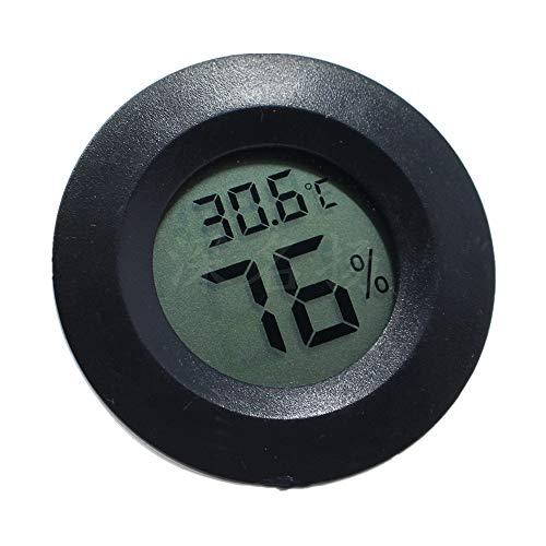 MSOVA 電子LCD温度計 湿度計 埋め込み クライミング ペット温度計 切り替え 円形デジタル電子湿度計 温湿度計 湿度分解率1%コンパクトサイズ 爬虫類 トカゲ 亀箱 クモ カエルケージ アクリル箱 飼育室 (black)