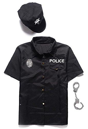 ポリス コスチューム 3点セット(帽子 シャツ 手錠) 警察服 警官 舞台 衣装 メンズ ワンサイズ