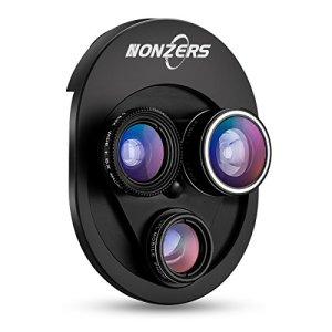 NONZERS カメラレンズキット スマホ用カメラレンズ 4in1レンズ セルカレンズ 0.63x広角 198°魚眼 15xマクロ CPL偏光レンズ 回りでモード交換 クリップ式 一体型 軽量 自撮りレンズ iPhone/HTC/Androidスマホ、iPad タブレットPCなど全機種対応