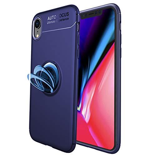 スマホケース iPhoneXRケース リング付き 薄型 軽量 全面保護ケース スタンド機能 車載ホルダー対応 360度回転 iPhone XR カバー 6.1インチ専用 保護カバー (iPhone XR, ブルー+ブルー)