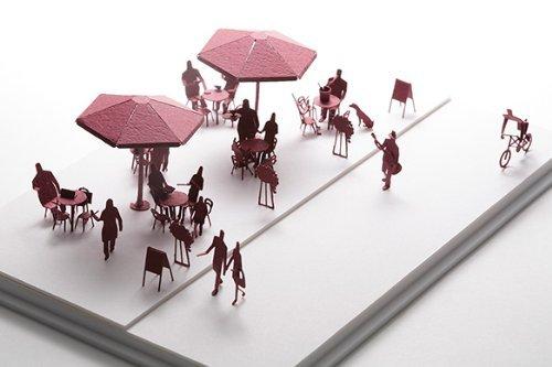 テラダモケイ 1/100建築模型用添景セット オープンカフェ編(エンジ)