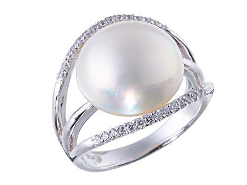 奄美大島産 マベ パール リング 6月 誕生石 真珠 シルバー SV 925 指輪 キュービック ジルコニア (18) マベパール