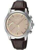 エンポリオアルマーニMen 's QuartzステンレススチールandレザーSmart Watch, Color : Brown (Model : art3014)