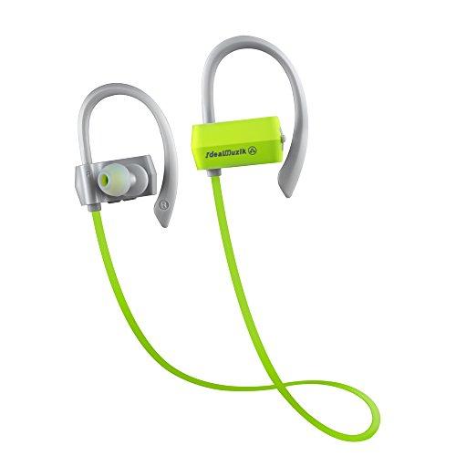 Bluetooth イヤホン 高音質ステレオ[1年保証付]Bluetooth 4.1 apt-Xコーデック採用 防水防滴 スポーツタイプ ワイヤレスイヤホン マイク内蔵 ハンズフリー通話 CVC6.0ノイズキャンセリング機能 ブルートゥース イヤホン Bluetooth ヘッドホン緑/灰色