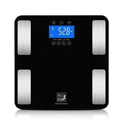 Excelvan 体重計 体組成計 高精度 180kg計量 ダイエット 体脂肪/体水分/筋肉量/など7つの項目測定 10人登録...