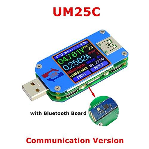 Doogy Sunshine UM24C/UM25C/UM25 USB電圧電流テスター USB 2.0 カラーLCDディスプレイテスター 電圧計 電流計 マルチマーター バッテリー 充電器 ケーブル インピーダンス測定 容量テスター (UM25C)