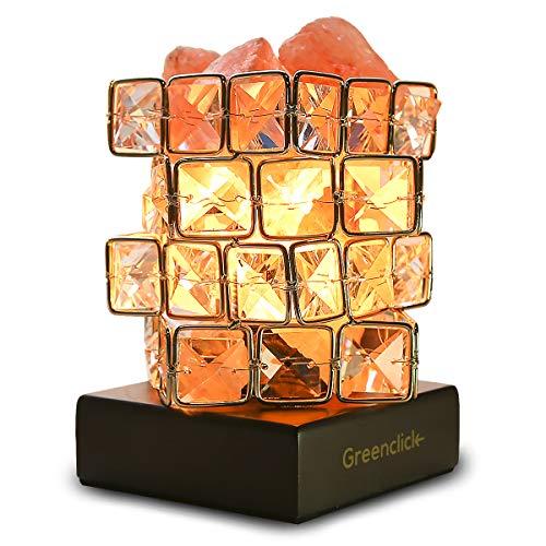 GreenClick ヒマラヤ岩塩ランプ ナチュラルクリスタル 1.5~2kg マイナスイオン発生 空気浄化 癒しの灯り ソルトランプ 天然塩製 岩塩ライト