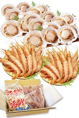 海鮮 詰め合せ 2種 セット 片貝 ほたて 20枚・赤 えび 20尾【冷凍】 海鮮セット 高級 貝 訳あり 鍋 ギフト 越前宝や