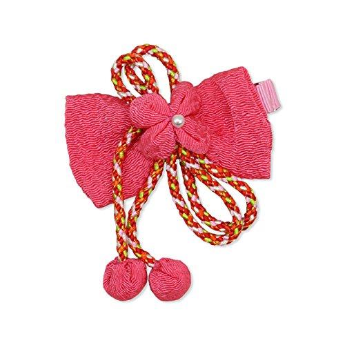 ベビー キッズ 子供用 髪飾り ヘアアクセサリー ちりめん クリップ 日本製 ピンク色 c911512102PI