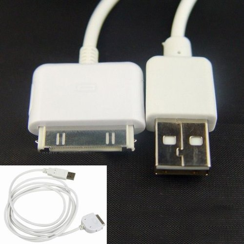 iPhone4/4S/3GS/3G/iPod 対応充電・通信ケーブル 1m ホワイト ipad通信(同期専用)ケーブル 1m ホワイト