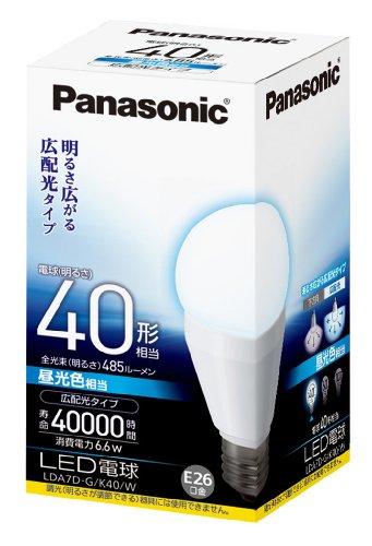 パナソニック LED電球 一般電球タイプ 広配光タイプ 6.6W  (昼光色相当) E26口金 電球40W形相当 485 lm LDA...
