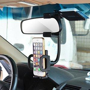 OBEST 車載 ホルダー ルームミラー取り付け型 スマートフォンホルダー 360度回転可能 3.5-5.0インチ用 GPS等対応 車載スタンド
