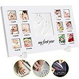 手形 赤ちゃん 手形 足形フレームベビー フォト フレーム 12枚写真立て 赤ちゃん手形記念品 ハンドプリント&フットプリントフレームキット 安全な非毒性粘土 木製フレーム 卓上壁掛両用 出産祝いの用品に最適です