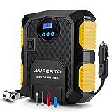 車用空気入れ AUPERTO エアコンプレッサーコンパクト シガーソケット接続式 3種類アダプターノズル付き LEDライト付き 自動車 バイク ボール 浮き輪 レジャー用品